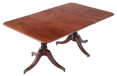 "Antique ~5'8"" x 3'6"" fine quality Georgian C1810 mahogany extending pedestal dining table 19th Century"