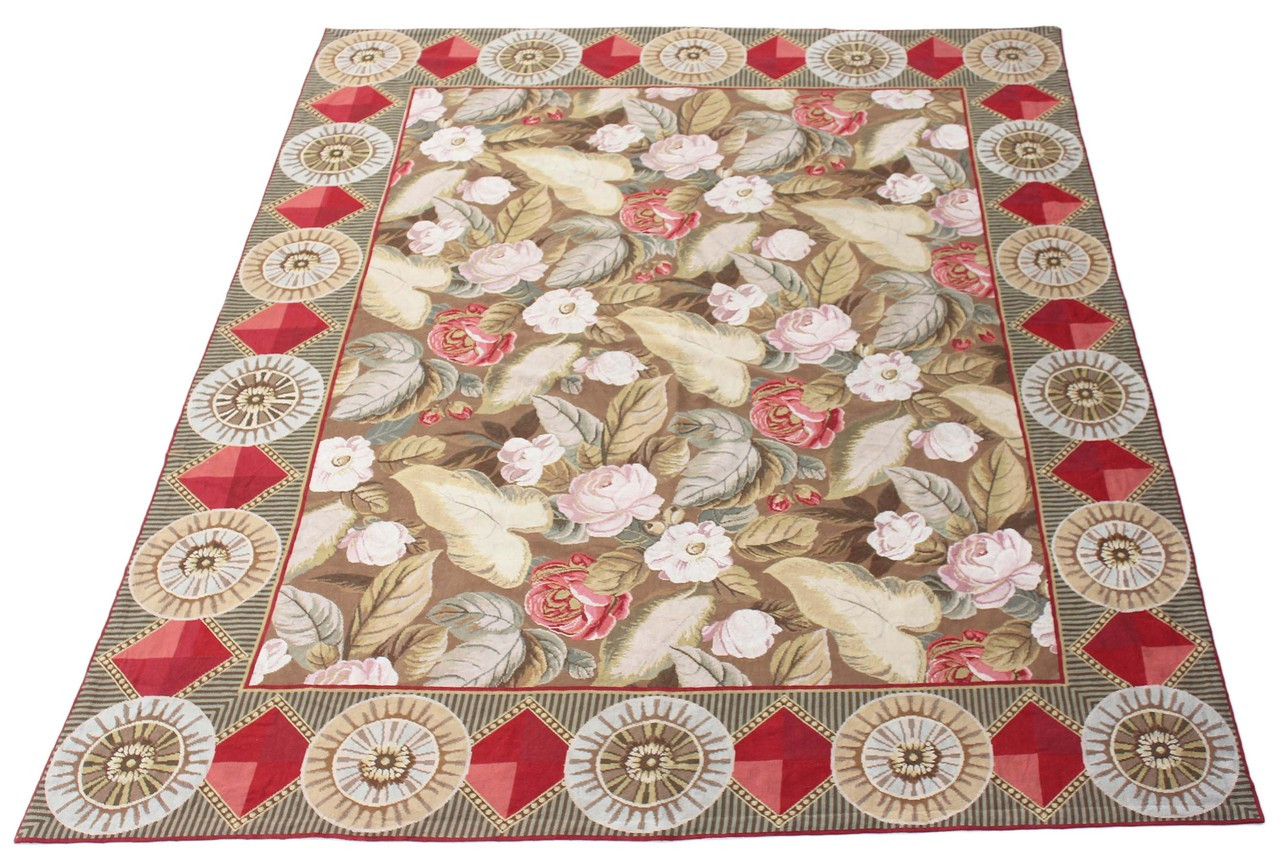 Antique Large Oriental Olive Ground Floral Hand Knotted