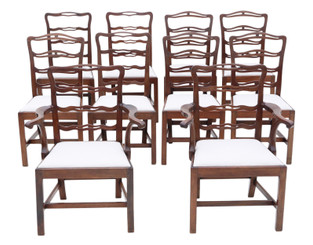 Antique fine quality matched set of 10 (8+2) mahogany Georgian C1825 dining chairs ribbon back