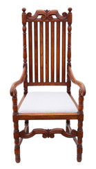 Antique quality oak armchair elbow desk chair C1915 Charles II style