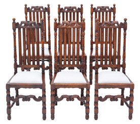 Antique quality set of 6 oak dining chairs C1915 Charles II style