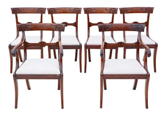 Antique fine quality set of 6 (4 +2) Regency Cuban mahogany dining chairs 19th Century C1825