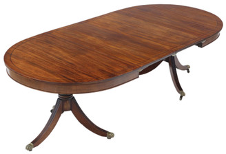 """Antique large fine quality mahogany extending pedestal dining table ~7'11 x 3'6"""" 19th Century"""