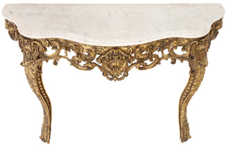 Antique large fine quality gilt and marble console table