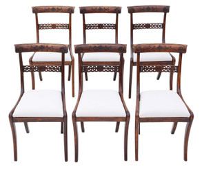 Antique fine quality set of 6 Regency faux rosewood (beech) dining chairs 19th Century C1825