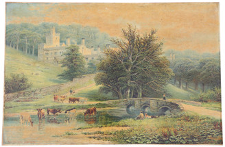 Quality large antique oil painting Robert Finlay McIntyre c.1846–1906 Haddon Hall