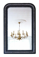 Antique large fine quality ebonised / silver gilt wall mirror or overmantle late 19th Century