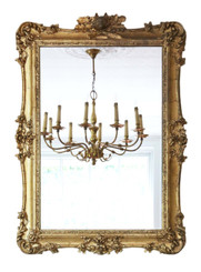 Antique large fine quality gilt wall mirror or overmantle 19th Century Fox hunting