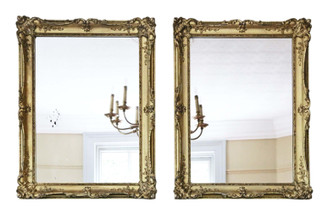 Antique pair of large quality gilt wall or overmantle mirrors 19th Century