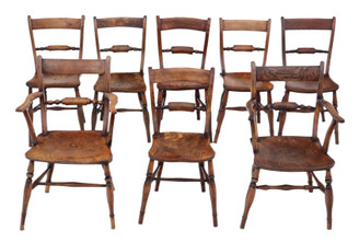 Antique quality matched set of 8 (6+2) elm and beech kitchen dining chairs mid-19th Century Oxford knife-back