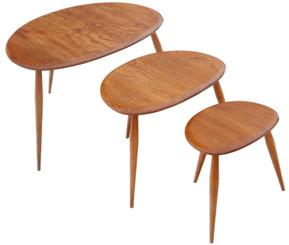 Antique retro quality Ercol nest of 3 tables C1970s great design shape