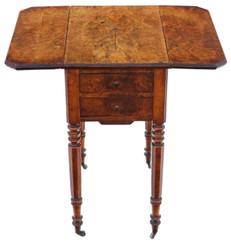 Antique fine quality Victorian 19th Century C1880 burr walnut drop leaf work table