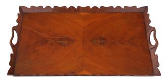 Antique vintage quality figured walnut oval serving tea tray mid-20th Century