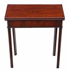Antique quality Georgian 18th Century Cuban mahogany folding card tea console table