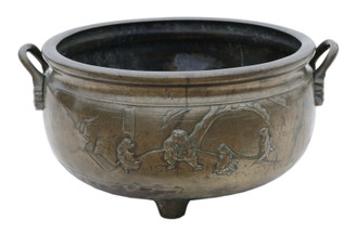 Antique very large quality Oriental Chinese Japanese bronze planter bowl 19th Century