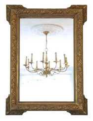 Antique large quality gilt wall mirror overmantle 19th Century