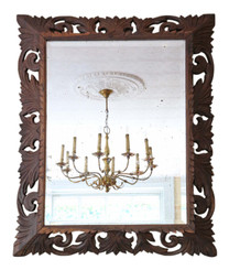 Antique large quality Florentine carved Padauk wall mirror overmantle C1900