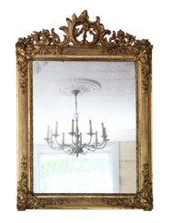 Antique 19th Century large quality gilt wall or overmantle mirror