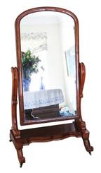 Antique Victorian 19th Century quality mahogany cheval mirror C1870