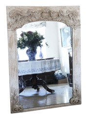 Antique large 18/19th Century large quality painted chateau overmantle or wall mirror