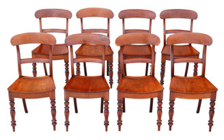 Antique fine quality matched set of 8 mahogany kitchen or dining chairs 19th Century C1860