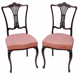 Antique pair of mahogany Victorian / Edwardian dining chairs bedroom side