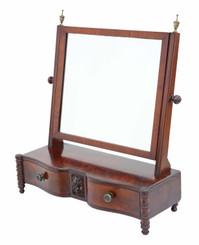 Antique quality Regency C1825 mahogany serpentine dressing table swing mirror