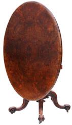 Antique fine quality Victorian burr walnut oval tilt top loo breakfast table
