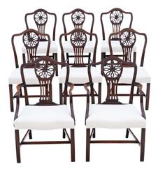 Antique fine quality set of 8 (6+2) Georgian mahogany dining chairs C1820