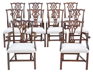 Antique fine quality set of 10 (8+2) mahogany Georgian revival C1920-50 dining chairs ribbon back