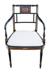 Antique fine quality Regency ebonised elbow, carver or desk chair C1825