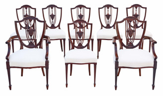 Antique fine quality set of 8 (6+2) 19th Century mahogany dining chairs shield back