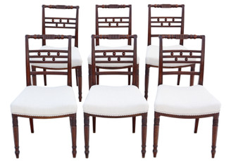 Antique fine quality set of 6 Georgian C1820 mahogany dining chairs