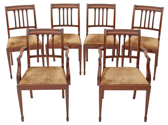 Antique set of 6 (4+2) Georgian revival mahogany dining chairs