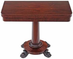 Antique Regency Victorian rosewood 19C folding card tea table console