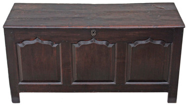 Antique large Georgian 18C 3 panel oak mule chest coffer ottoman log basket