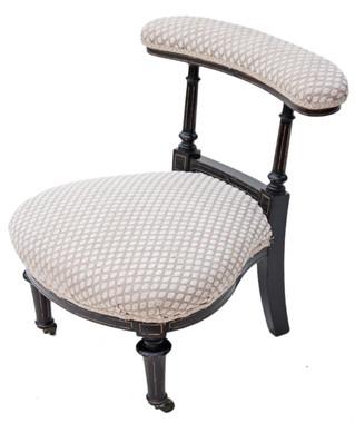 Antique Gillows 19C Victorian ebonised armchair nursing chair prie dieu