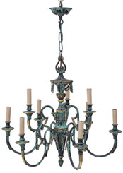 Antique large heavy Gothic 9 lamp brass bronze chandelier FREE DELIVERY