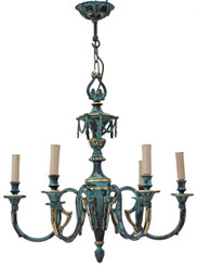 Antique large heavy Gothic 6 lamp brass bronze chandelier FREE DELIVERY