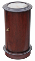 Antique Victorian mahogany marble cylinder bedside cupboard table cabinet