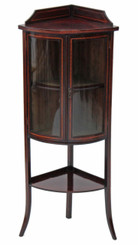 Antique small Edwardian inlaid mahogany bow front corner display cabinet