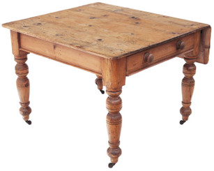 Antique Victorian pine kitchen dining table scrub top extending farmhouse