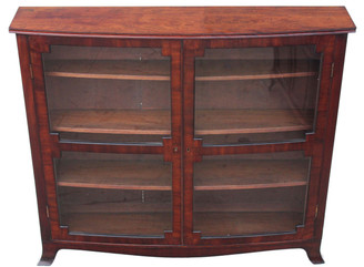 Antique Victorian 19C mahogany bow front glazed bookcase display cabinet