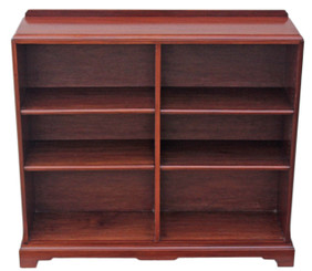 Antique quality mahogany open bookcase with adjustable shelves