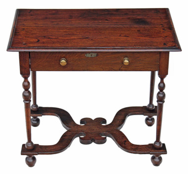 Antique Georgian and later oak side, occasional writing table desk lowboy