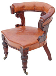 Antique Victorian 19C walnut leather library desk tub chair armchair