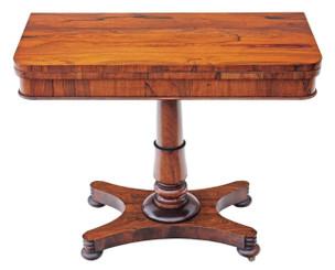 Antique Regency rosewood 19C folding card tea console table