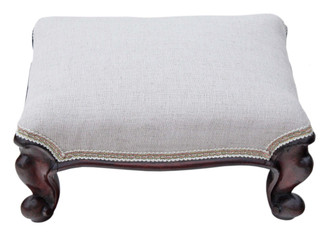 Antique Victorian 19C carved mahogany small upholstered foot stool
