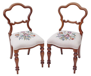 Antique pair of Victorian walnut dining bedroom hall side chairs