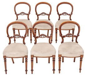 Antique set of 6 Victorian carved walnut balloon back dining chairs